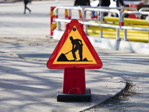 Byggarbetsplats skylt
